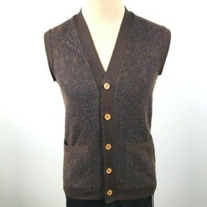 Vintage European Wool Brown Button Front Sweater